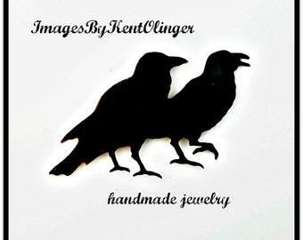 crow brooch, Two Crows, crow jewelry, crow sculpture, raven brooch, crow pin, goth crow, two for joy, two birds, raven pin, canadian fashion