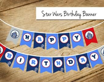 Star Wars / R2D2 / Happy Birthday / Banner / Bunting / Garland / Flags