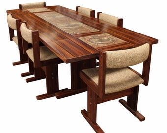 Mid Century Modern Danish Rosewood Ox Art Tile Dining Table w/ 2 Leaves 6 Chairs