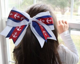 Nautical Fly Away Cheerleading Bow