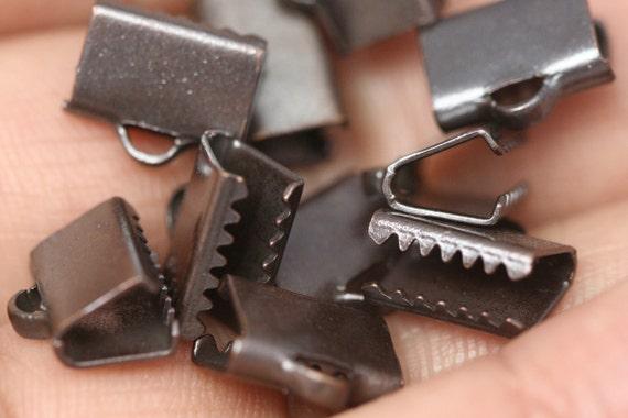 30 pcs 6x9 mm antique copper tone ribbon crimp ends, ribbon crimp end, ribbon crimp ends cap, with loop findings AC232