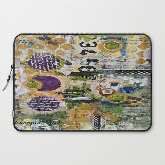 Laptop Sleeve: Mixed Media Art. Numbers, Circles & Words. Purpose Art.
