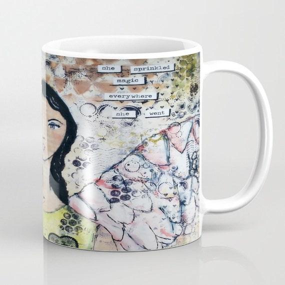 Mixed media mug. Original art by Croppin' Spree