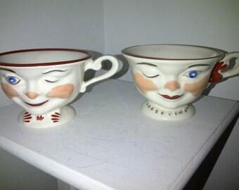 Vintage Winking Teacups