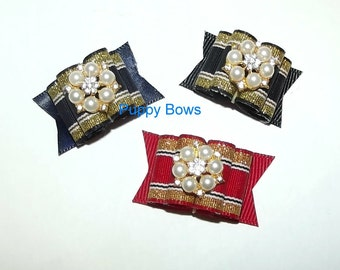 Puppy Bows ~ SUPER FANCY pearl rhinestone show bows dog grooming bow pet hair barrette
