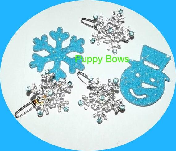 Puppy Bows ~Rhinestone barrette 4 leaf CLOVER or frozen SNOWFLAKE dog bow clip ~ USA seller
