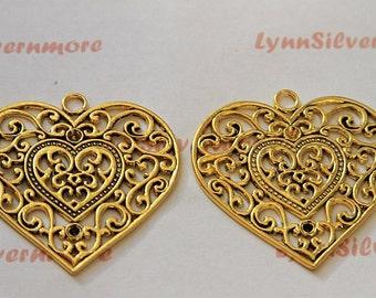 2 pcs a pkg - 56x57 mm Extra large Filigree Heart Caliper Digital Antique Gold  Lead Free Pewter