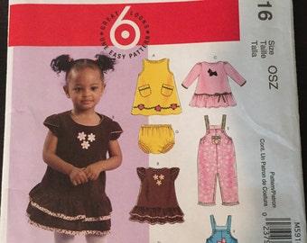 McCalls M5916 Infants' Dresses, Overalls, and Panties. Uncut pattern.