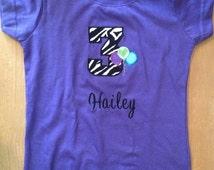 ON SALE Purple Zebra Birthday Shirt or Baby Bodysuit
