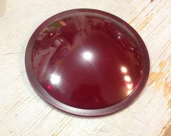 """Vintage Old 8 3/8"""" Kopp Glass Red Traffic Light Lens"""