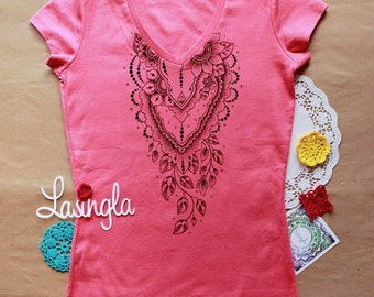 Pink Cotton t-shirt with mehndi