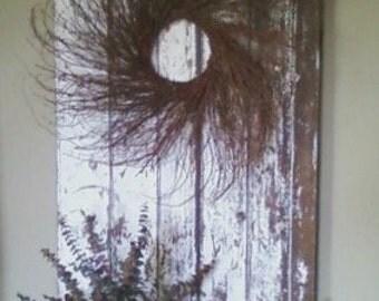 Vintage Weathered Door with Wreath , Chippy White Door , Rustic Home Decor , Primitive Home Decor , Farmhouse Decor