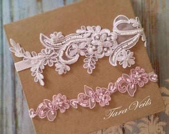 Wedding garter set,white and Pink Garter,Rhinestone white Garter, Bridal garters pink ,bridal garter,Floral lace garter,Garter Set
