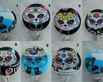 Day of the dead kittys Retractable ID Name Badge Holder Reel
