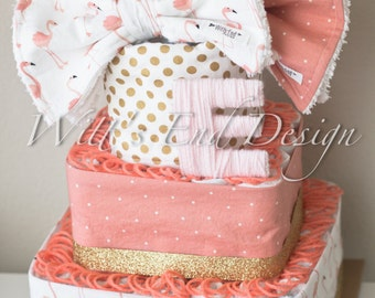 NEW Flamingo Baby Girl 3-tier Square Diaper Cake or Shower Centerpiece
