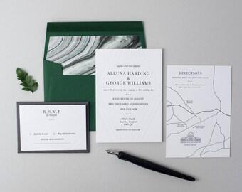 Letterpress Wedding Invitation Suite (Main Invite, RSVP and Map) (SAMPLE) - Alluna Design