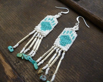 Native American Beaded Earrings with Turquoise