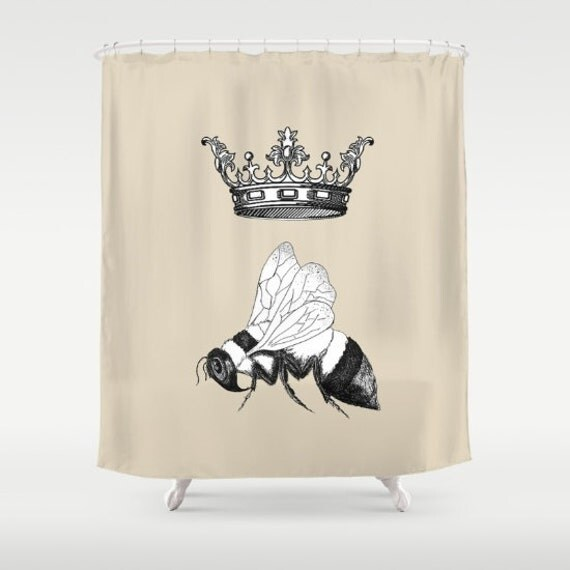 Items similar to queen bee shower curtain bumblebee for Queen bathroom decor