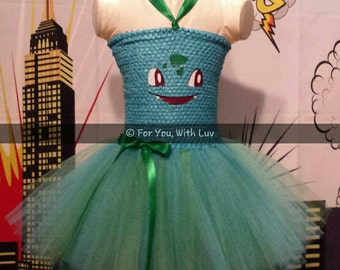 Pokémon Bulbasaur Tutu Dress. Pokémon Tutu Dress. Halloween Costume. Girls Halloween Tutu.