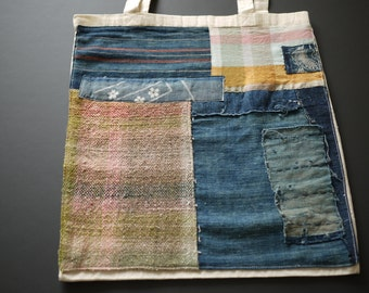 tote bag with indigo and handwoven patches