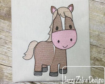 Horse Sketch Embroidery Design - farm Sketch Embroidery Design - pony Sketch Embroidery Design