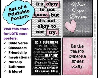 Okay to Not Know, Chevron Classroom Decor, Pink and Gray, Classroom Poster, Classroom Sign, Classroom Decoration, Back to School, Printable