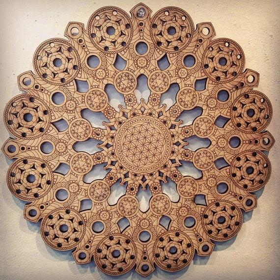 Mandala fleur de vie Laser Cut Art bois