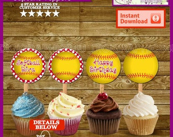 Softball Cupcake Toppers  2 inch Printable Digital File for Birthdays, Parties and More - Instant Download