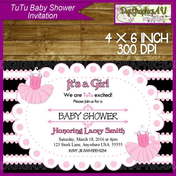 tutu ballerina baby shower invitation for baby girls printable