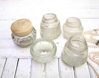 Vintage Glass Jars Set of 5 Antique Apothecary jar Vintage Bottles Retro Pots Collectible Jar Little glass containers decor Flower vase