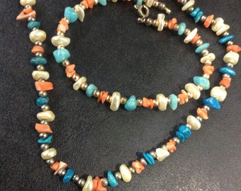 Pearl , coral and turquoise bead necklace and bracelet set