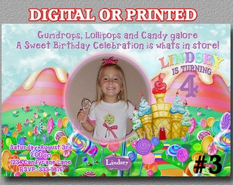 Candyland Invitation with Photo YOU Print Digital File or PRINTED Birthday Party invite  candy land