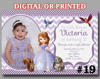 Sofia the First Invitation with photo YOU Print Digital File or PRINTED, Sofia Party, Princess Sofia Birthday Party Invitation
