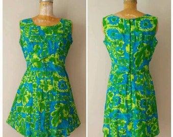 Vintage 1960s Hawaiian Dress, Polynesian Dress, Green and Turquois Island Dress, Beach Dress, Tiki Dress, 1960s Hawaiian Dress, Luau, Medium