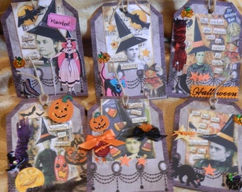 Halloween Tags - Six Handmade Tags With Glue, Stickers, Cutouts, Ribbon and More. Gift Bag Tags, Thank You Tags, Use as Cards. One of a Kind