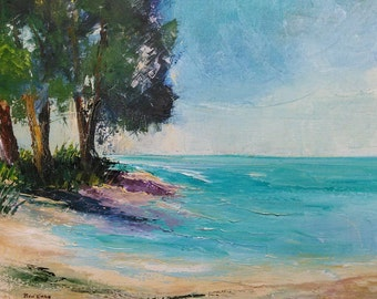 Vintage Longboat Key Expressionist Mid Century Modern Beach Landscape Painting