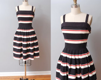Vintage LANZ Cotton Black Red White Striped Dress Sz S M Aus 8 10 US 4 6