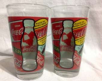 Pair Of Rare Coca Cola Drinking Glasses