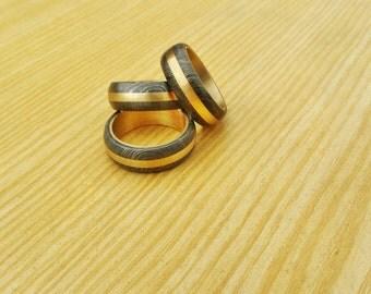 Damascus Ring Set of 3 Rings
