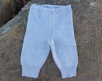 Upcycled wool longies, merino baby pants, 6-12 months