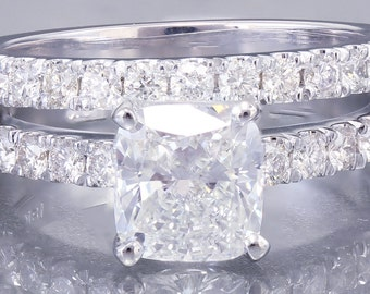 18K White Gold Cushion Cut Forever One Moissanite and Diamond Engagement Ring And Band Briday Deco 1.88ct