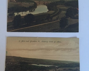 Vintage Postcards-Set of Two-Vermont Nature Paintings Brandon VT and North Thetford Vermont