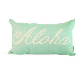 12x20in Aloha Script Aqua Burlap Style Linen Lumbar Pillow Cover
