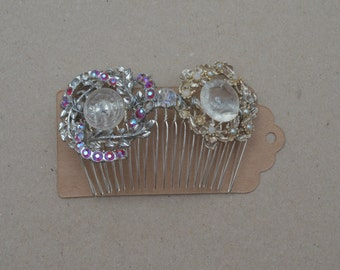 Vintage inspired Upcycled brooch and button comb.