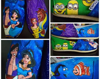 Custom painted Disney Toms . Designed and personalized just for you!