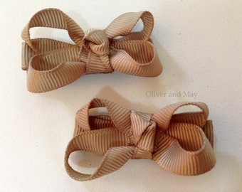 Coffee Cream Ribbon Boutique Girls Baby Lined Hair Clips Toddler Girl, Infant Hair Clips Baby Hair Bow Clip Baby Clips