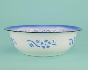 Large Vintage Indonesian Blue Floral Enamel Bowl