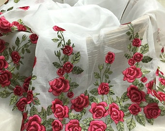 Organza Rose lace fabric , Embroidered lace fabric,vintage lace fabric for wedding dress, wedding gown lace fabric