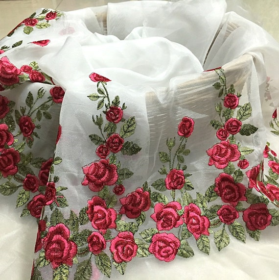 Organza Rose Lace Fabric Embroidered Fabricvintage