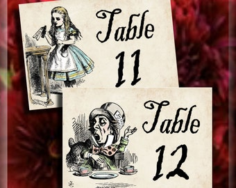 Alice in Wonderland Table Number Signs Tables 11 - 20 Printable Instant Download Digital